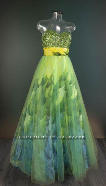 e0d5fc50ab436d Galajurk met tule rok in geel groen