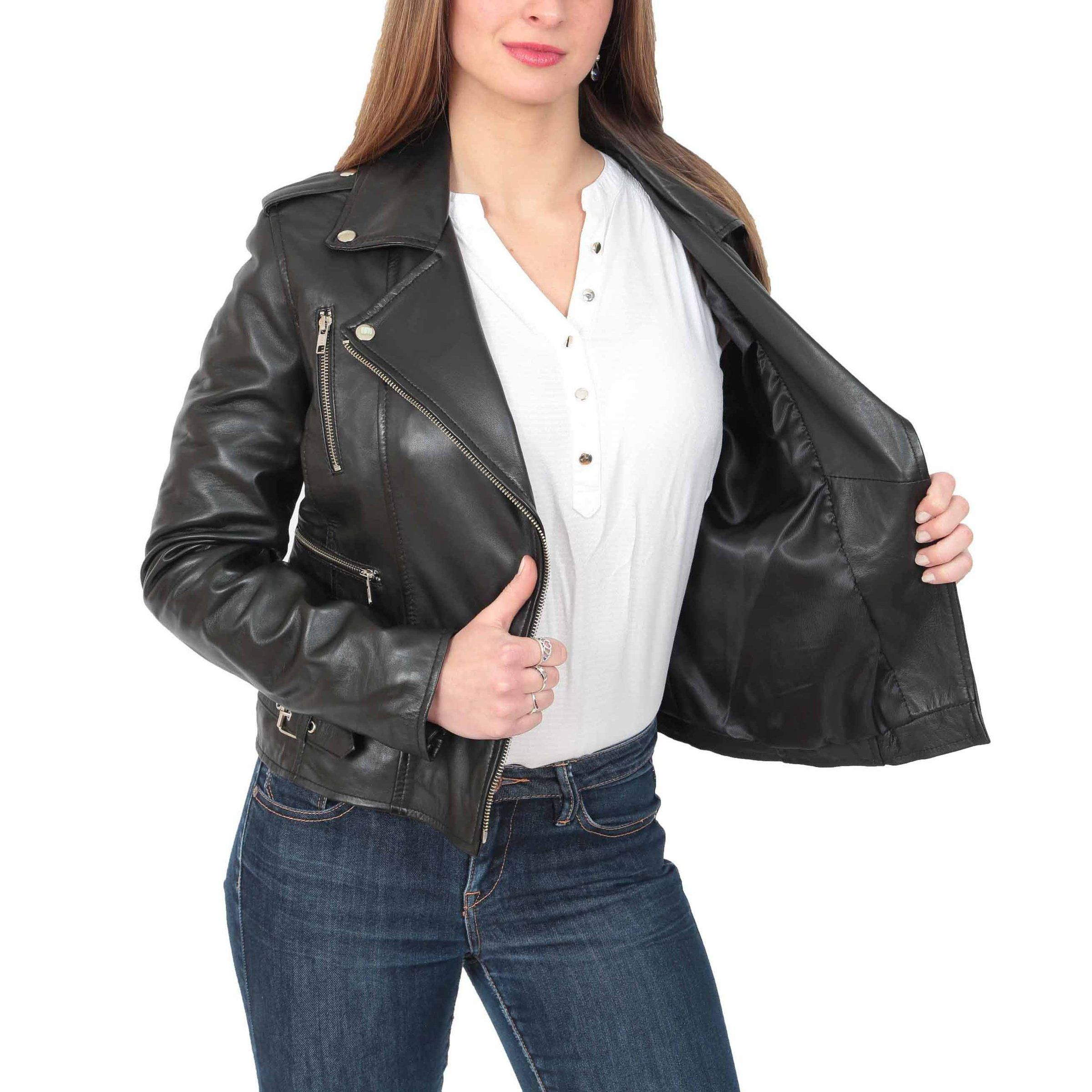 CelebsCostumes Womens Cross Zip Biker Leather Jacket