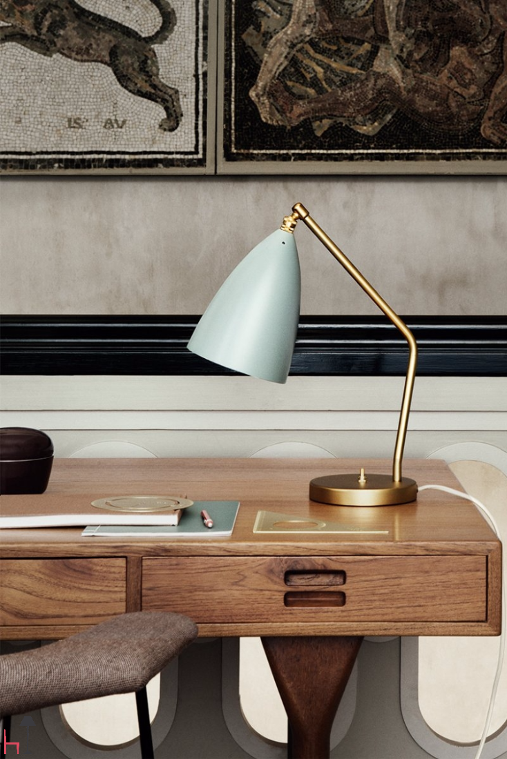 The iconic Gräshoppa task lamp by Gubi was produced in 1948.