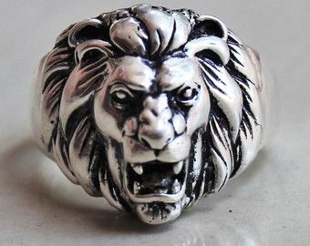 1737c1f11 Sterling Silver Lion Ring, animal ring, lion head ring, chunky ...