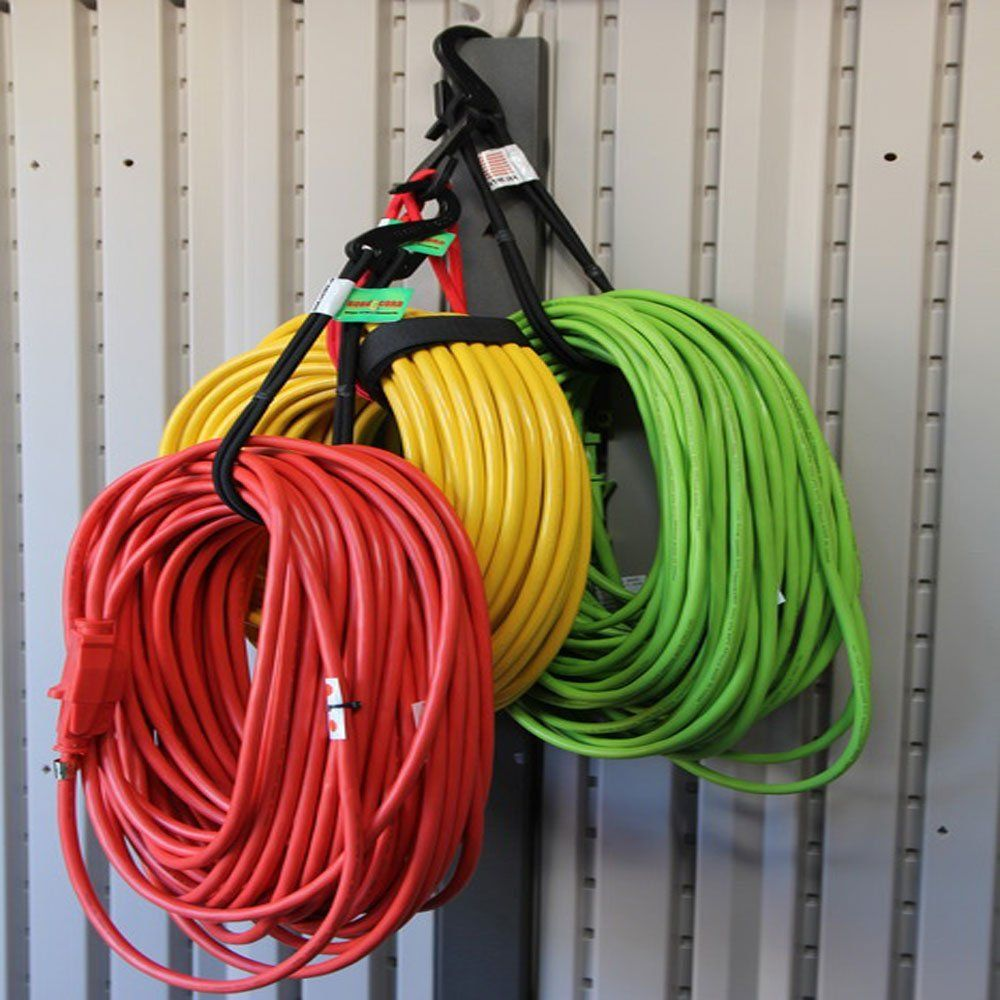bungee cord storage for extension cords, hoses, or bicycle
