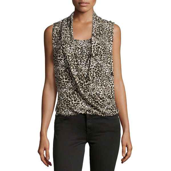 Vince Camuto Leopard-Print Drape-Front Blouse ($28) ❤ liked on Polyvore featuring tops, blouses, rich black, leopard print top, vince camuto tops, drape front blouse, drape front top and leopard print sleeveless blouse