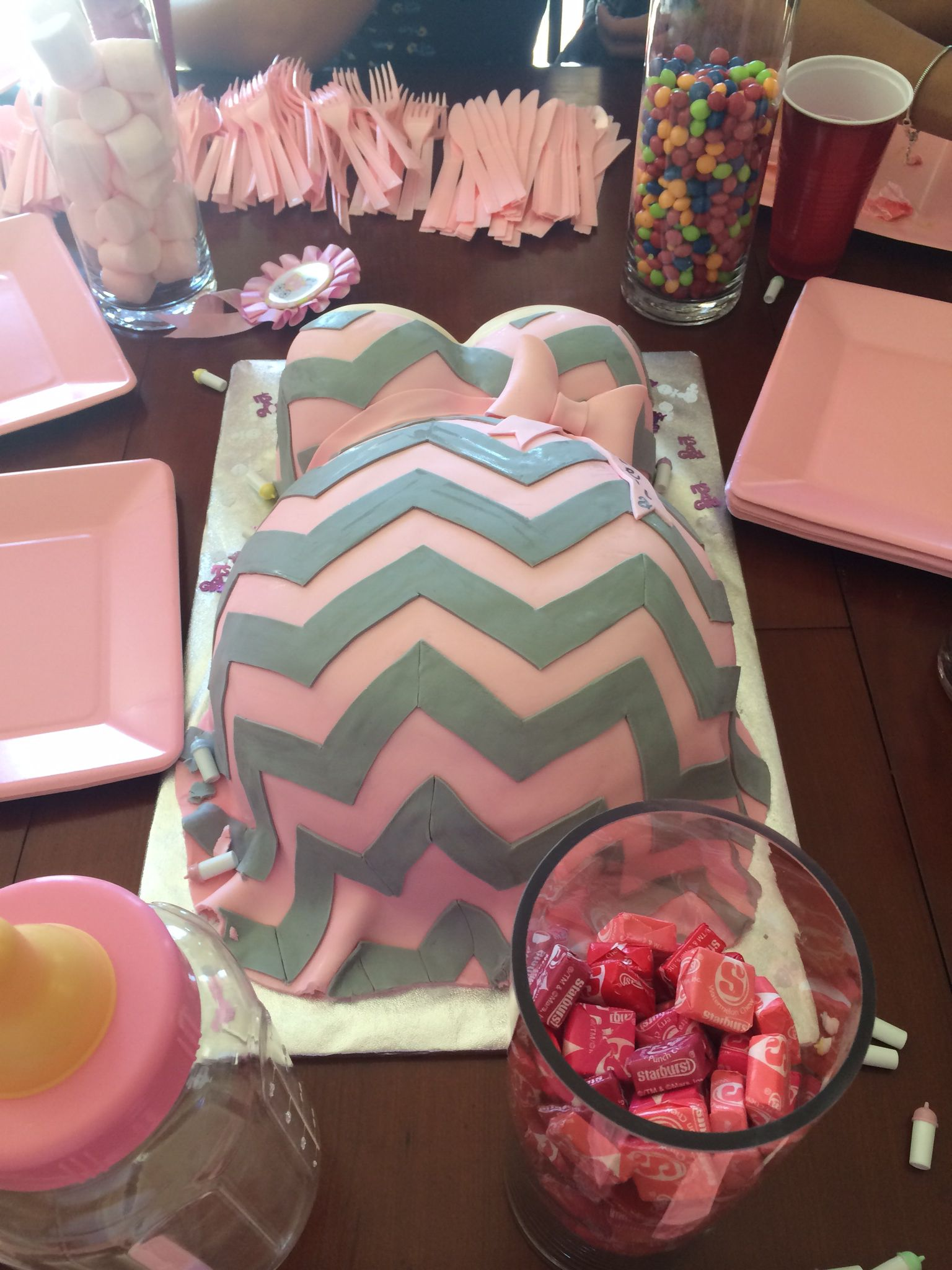 Belly cake Bump cake Chevron cake It s a girl cake Pink and grey