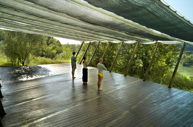 Cloth Shade With Images Yoga Garden Yoga Room Design Yoga Space