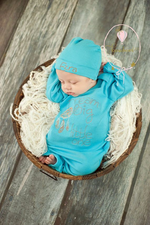 New Baby Boy Gown, Turquoise Blue Infant Gown, Newborn Hospital ...