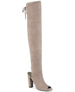 Guess Women's Galle Over-the-Knee Peep-Toe Boots - Gray 8.5M