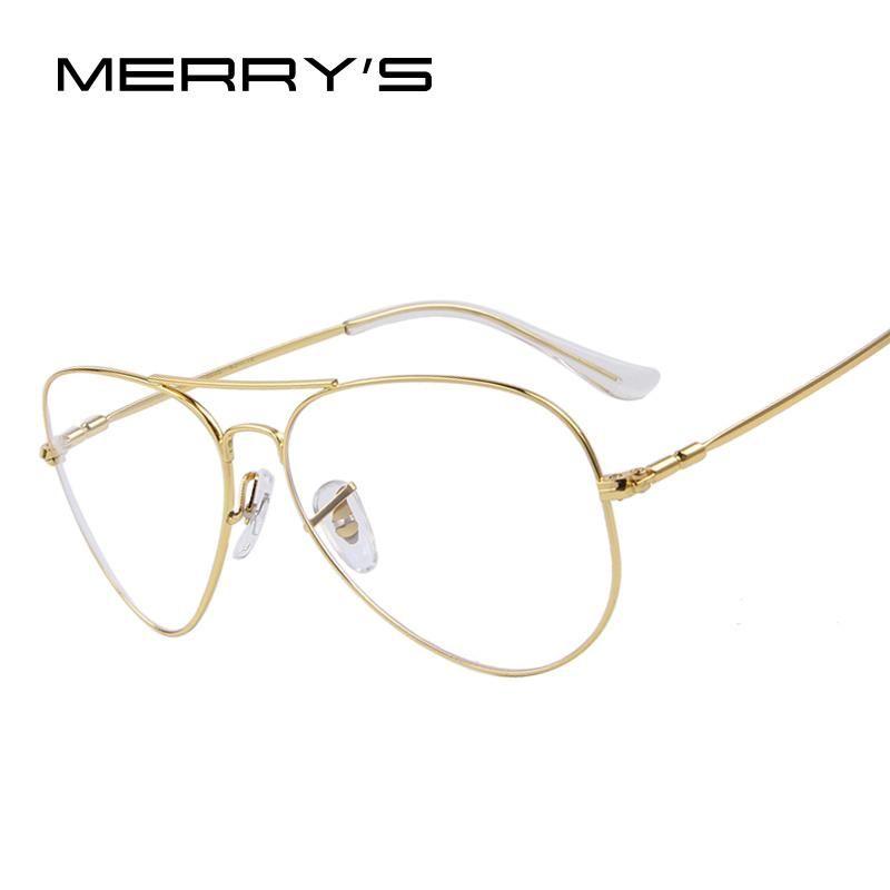 9aa45022d76b MERRY S Fashion Women Titanium Glasses Frames Men Brand Titanium Eyeglasses  Gold Shield Frame With Glasses