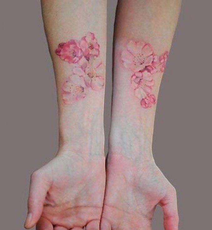 Des Fleurs De Cerisier Sur Les Poignets Tatouage Discret