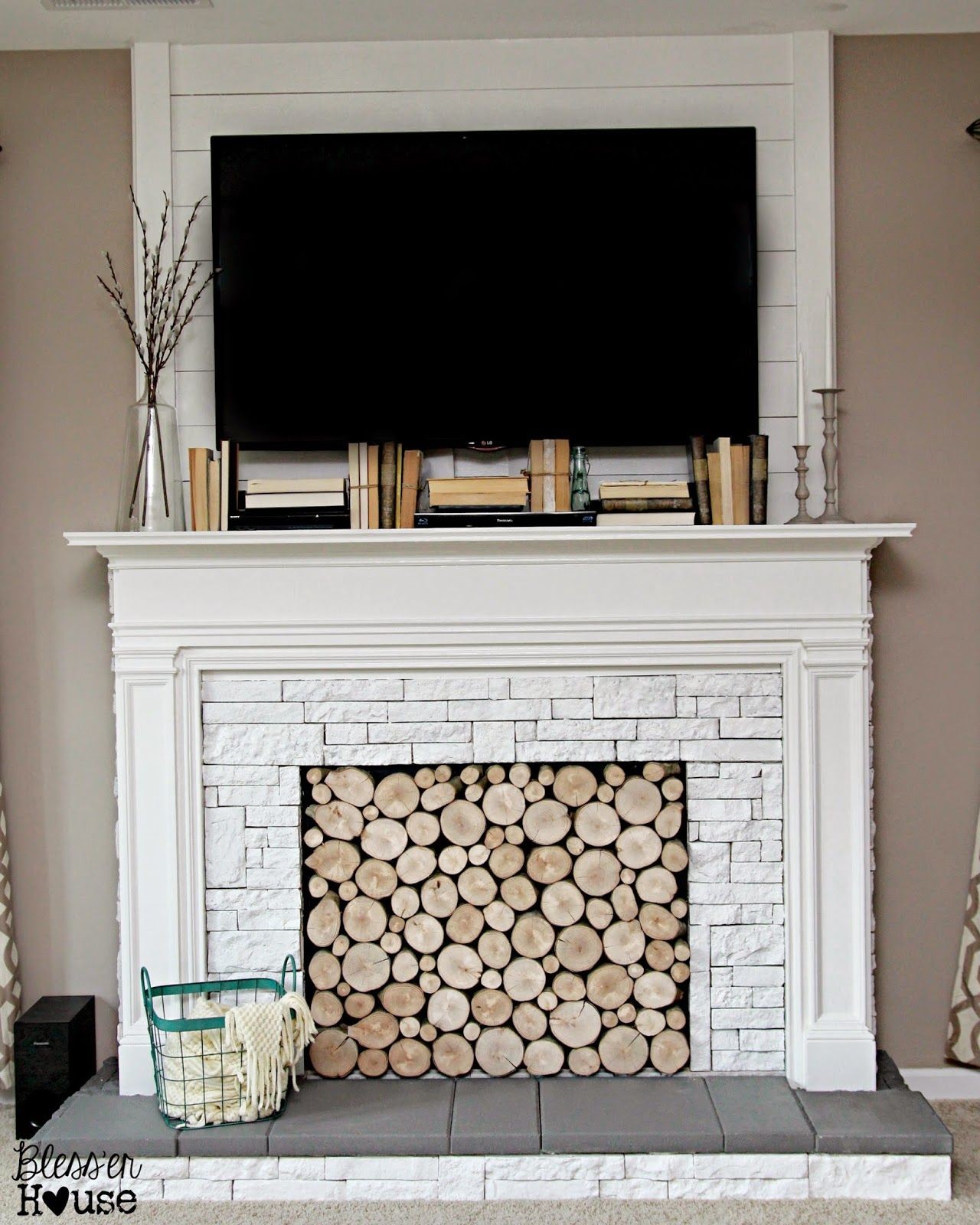 Diy faux fireplace for under the big reveal fireplace