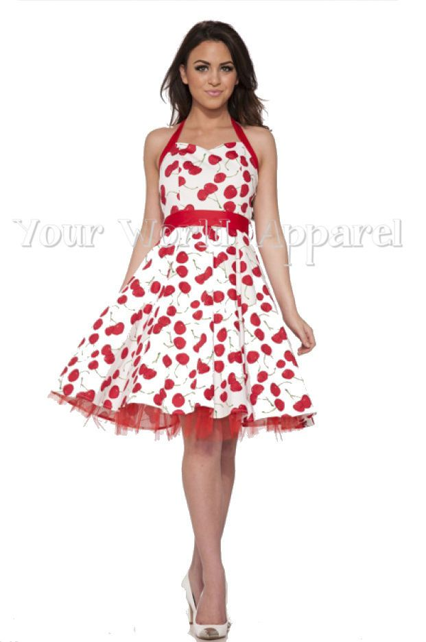 H&R LONDON WHITE BIG CHERRY HALTER DRESS PINUP 1950s ROCKABILLY ...