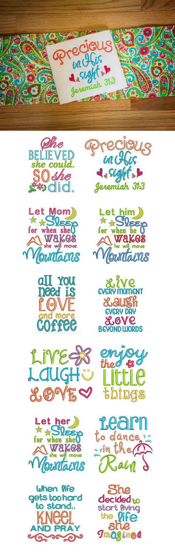 Available in a range of different colour designs instant downloadable - Sweet Sayings Set 2 Embroidery Design Set Available For Instant Download At Designsbyjuju Com