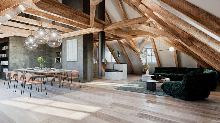 Come arredare una mansarda, open space con soggiorno, tavolo ...