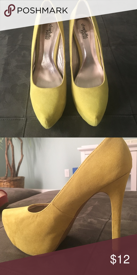 Bye bye high heels!! Green/yellow mix high heels. 7 inch heel and 2.5 inch platform. They look great with a pair of jeans and a white top! Charlotte Russe Shoes Platforms