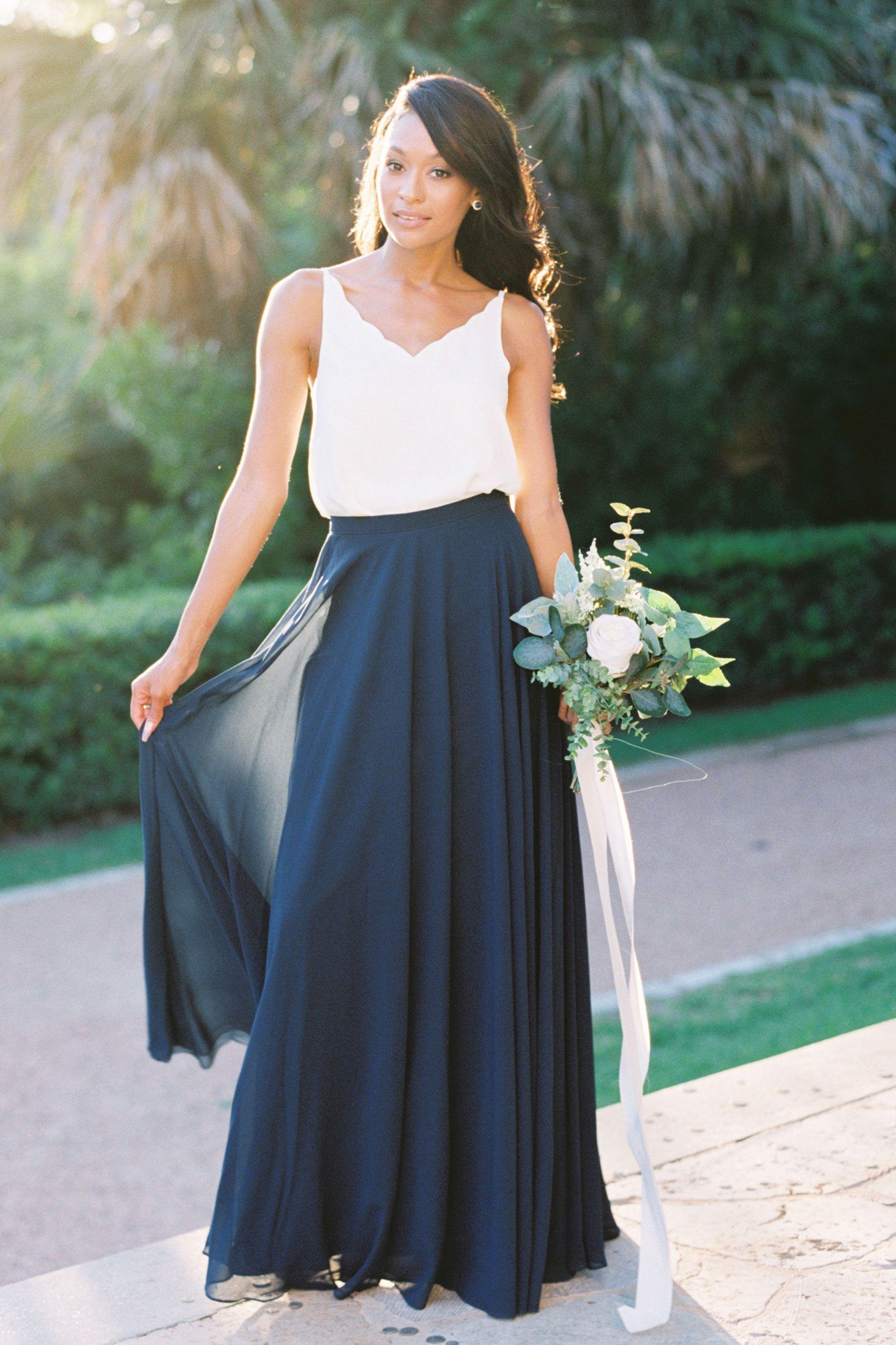 Olivia Chiffon Top Bridesmaid Dresses Separates Designer Bridesmaid Dresses Bridesmaid Skirt And Top