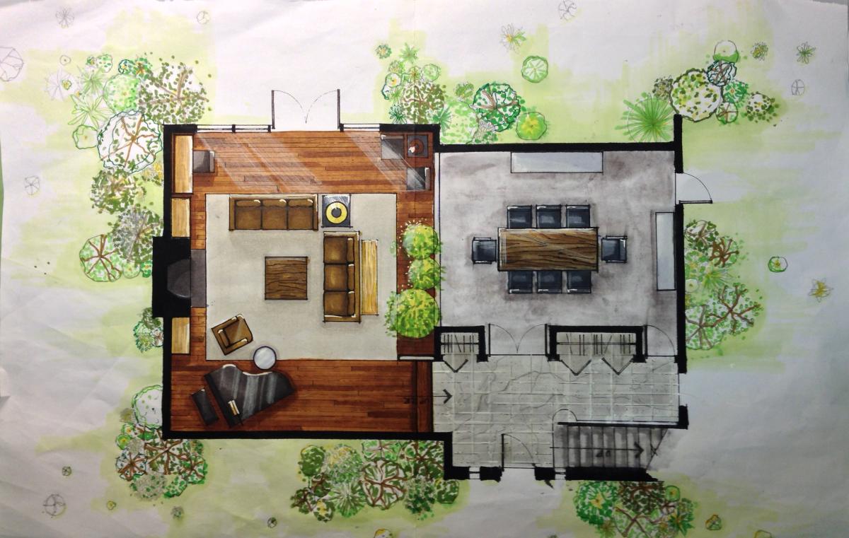 Finishing Details Rendered Floor Plan Interior Design Renderings Interior Design Drawings