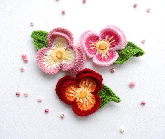 Crochet Flower - Crochet Applique - Multicolored Flower - Pansy ...