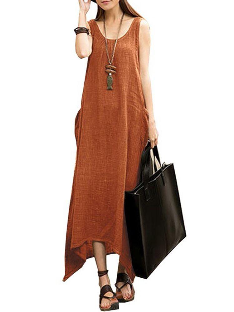 57db2bb8eda682 Vintage Casual Women Sleeveless High Low Cotton Maxi Dress ...