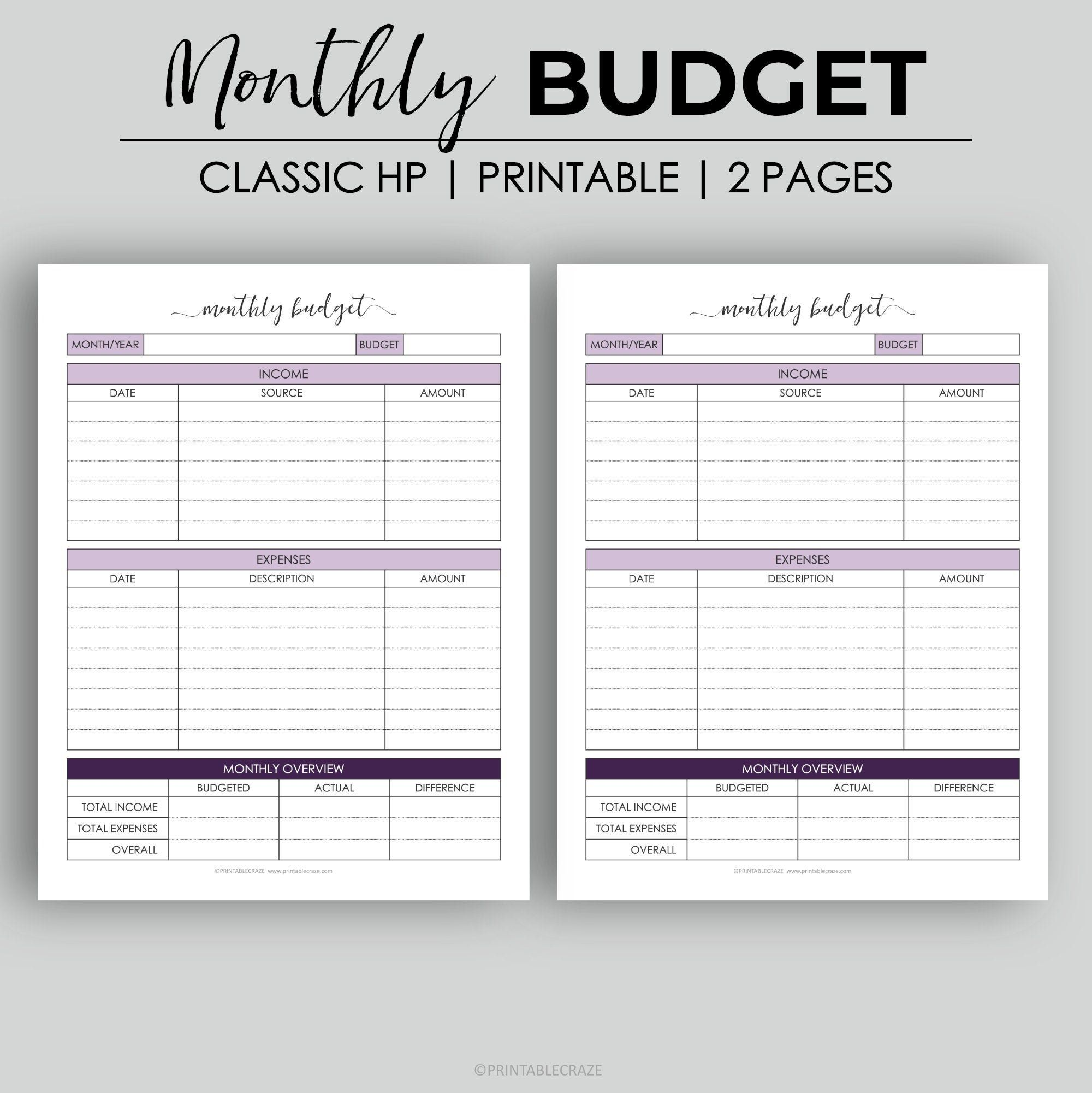 Classic Hp Monthly Budget Expense Tracker Income Tracker Etsy Budgeting Money Budget Planner Free Free Budget Printables