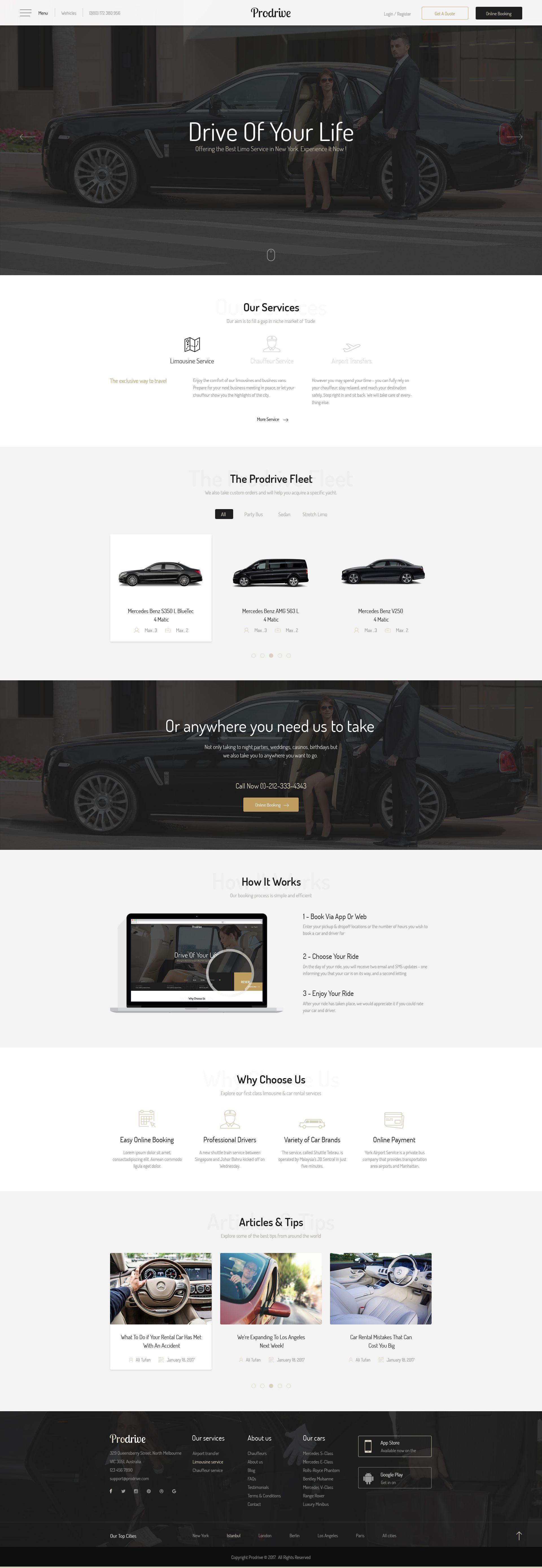 Prodrive Limousine, Transport, Car Hire PSD Template