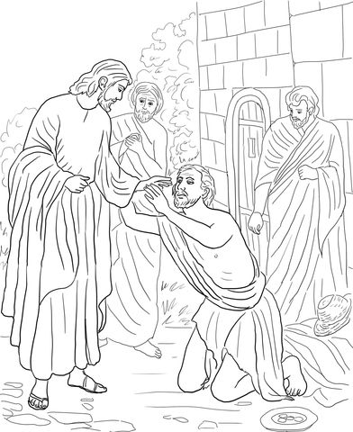 Heals The Blind Man Coloring Pages Download Printable Jesus