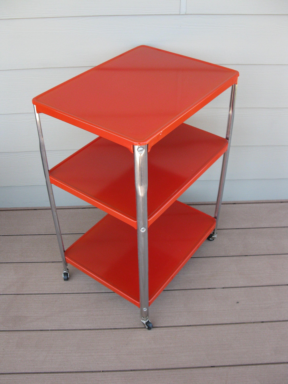 Red Metal Rolling Cart 3 Tier 3 Shelf Vintage Storage Etsy Vintage Storage Rolling Cart Garage Storage Organization