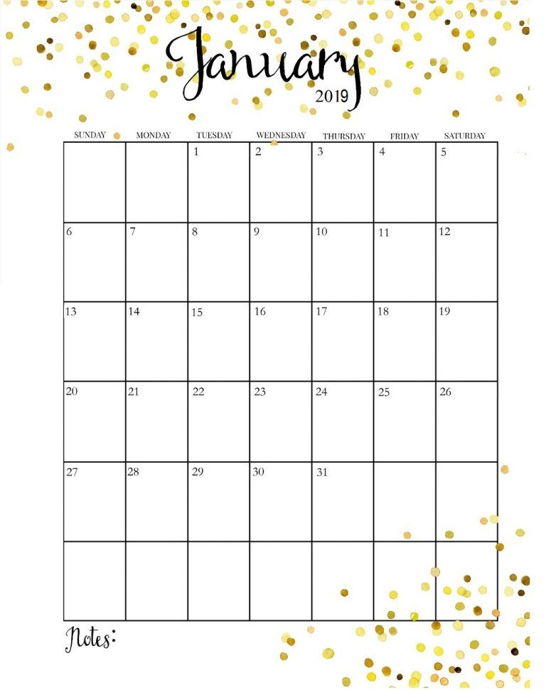 Cute January 2019 Calendar Calendar 2019 Pinterest Calendar