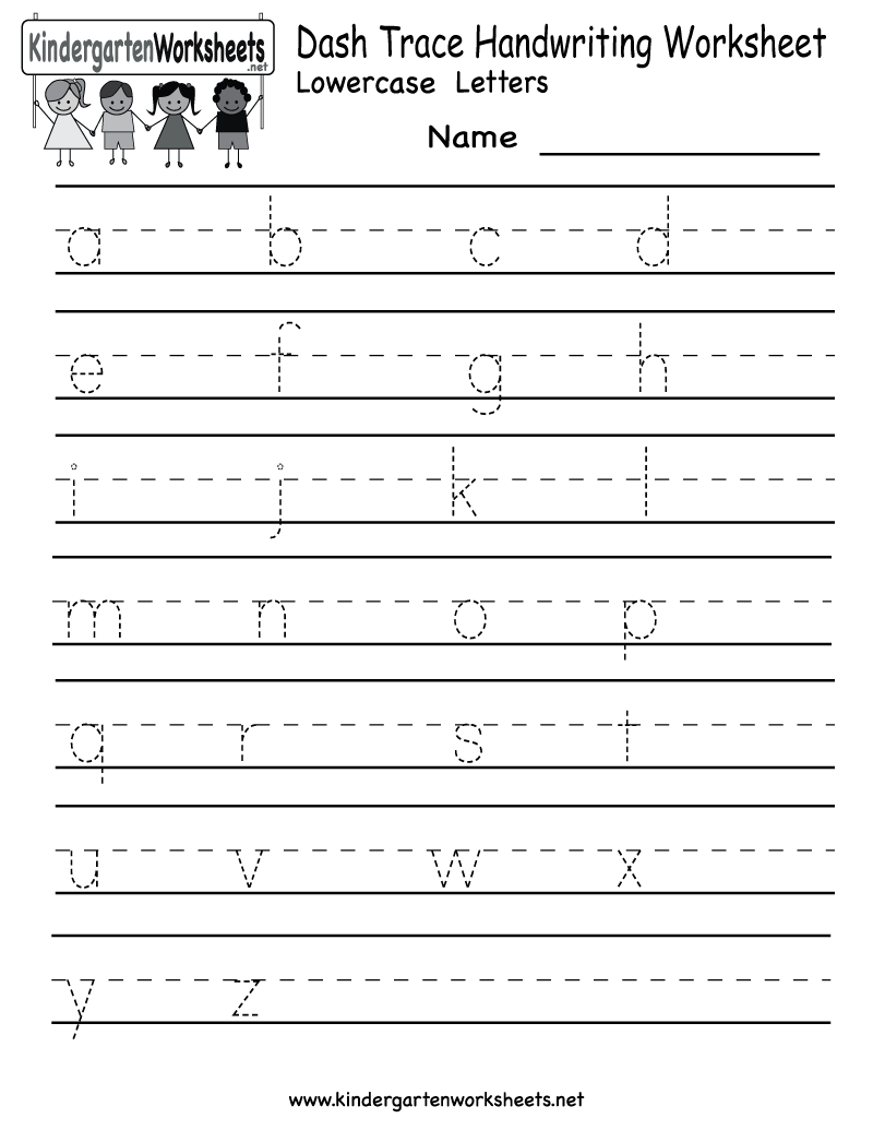 Worksheets Handwriting Worksheets Name kindergarten dash trace handwriting worksheet printable printable