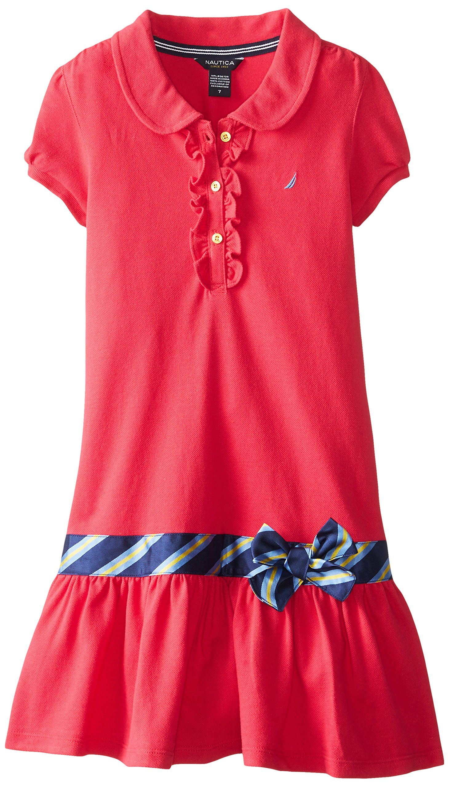 Nautica Big Girls Pique Polo Dress with Gold Buttons Medium Pink