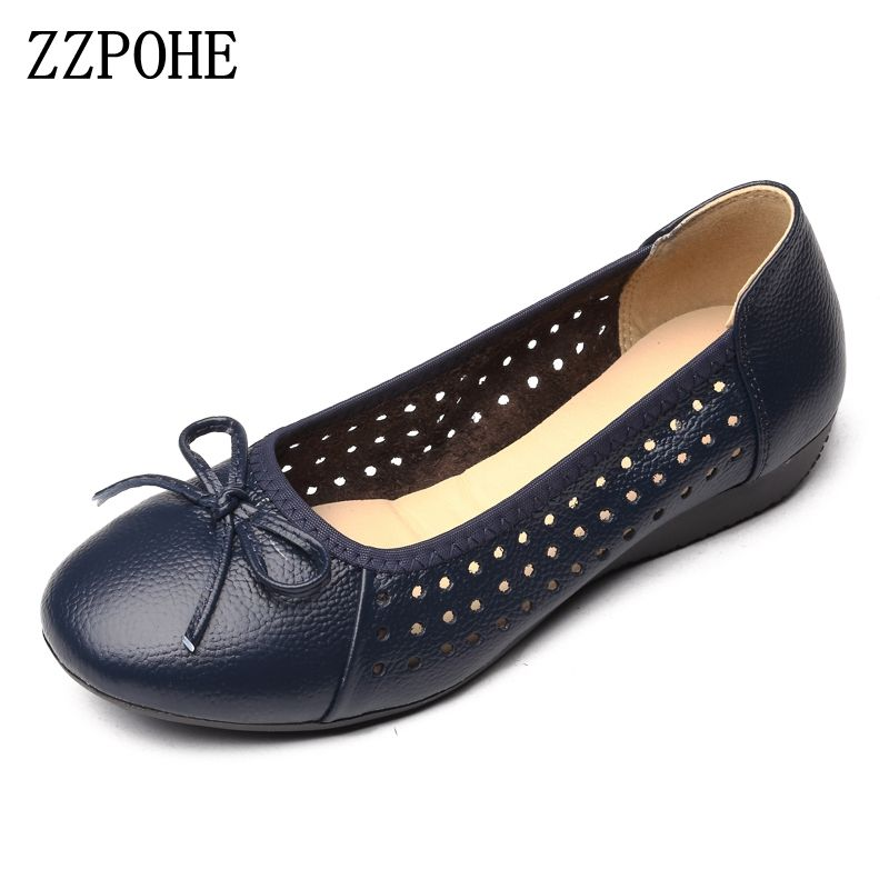 4ae1a20c1b339 ZZPOHE Women Flat Shoes 2017 Summer Breathable hollow soft Casual mother shoes  Leather fashion woman shoes