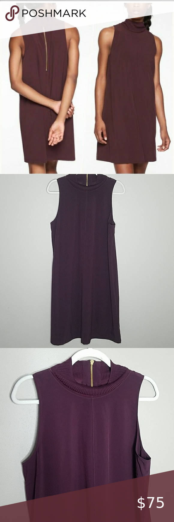 Athleta Initiative Dress, Size LT Athleta Initiative Dress, Size LT in Auberge   FOR: Commuting, work and travel  FEEL: Recycled Featherweight Stretch™ fabric feels sleek and light as air  FAVE: Rib and mesh details at neckline provide comfort and airflow  Ribbed details along neckline for added comfort  Mesh details for extra ventilation  Measures approximately 39