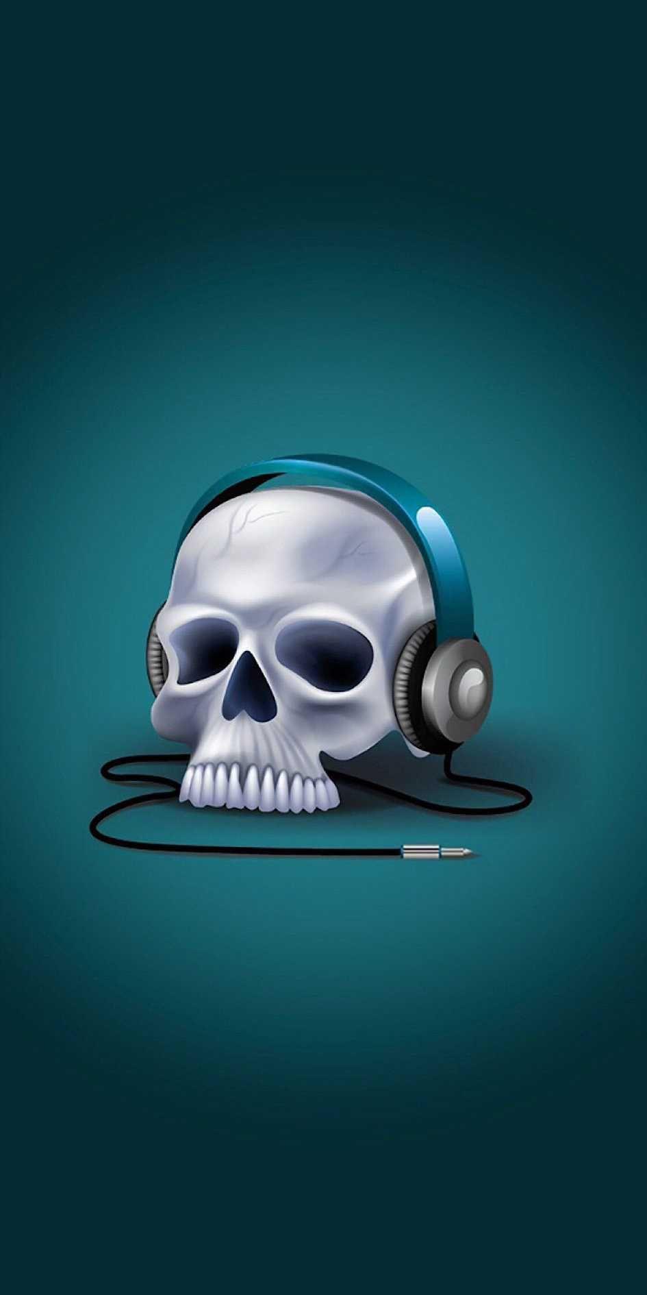 Music Skull Iphone Wallpaper Papel De Parede Engracado Iphone