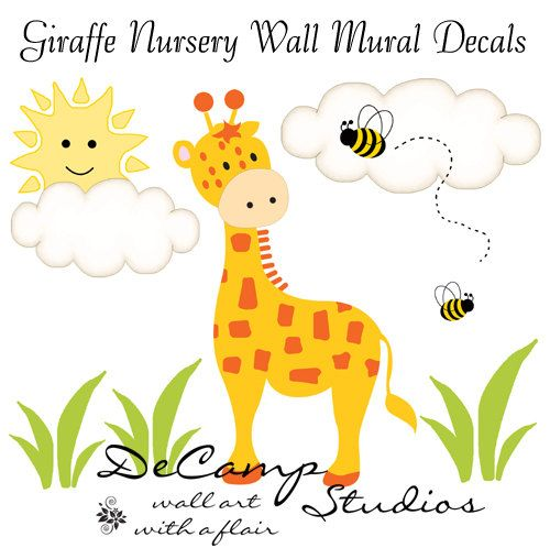 Giraffe Wall Art Mural Decals for baby boy jungle nursery or ...