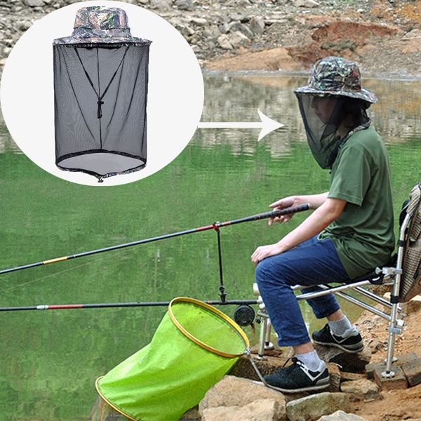 Outdoor Large Anti-Mosquito Bees Fishing Hunting Hat Cap Face Protection with Detachable Mesh