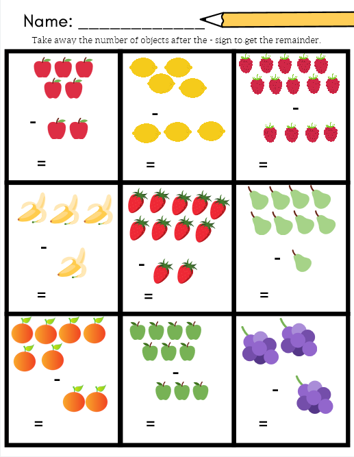 Fruit Math For A Grocery Or Plant Unit Addition And Subtraction Worksheets Included In My Pictu Math Worksheet Addition And Subtraction Worksheets Subtraction