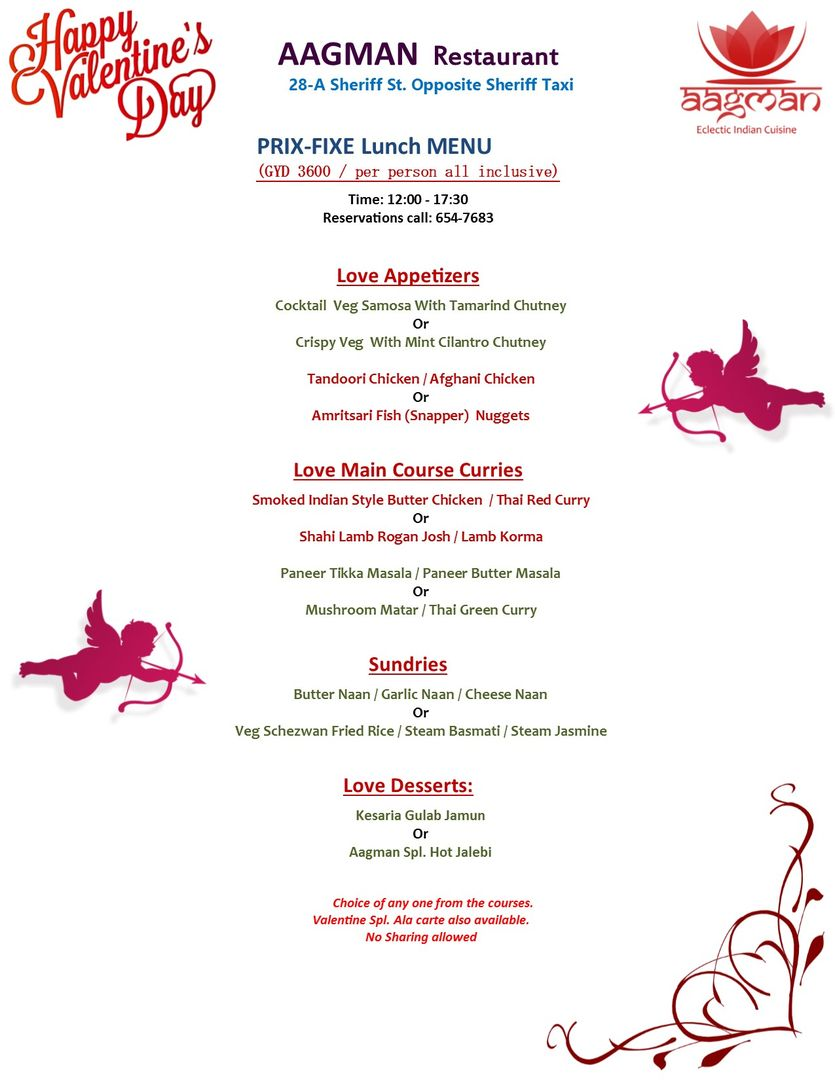 Valentines Day Love Special Lunch Menu Indulge Yourself In The