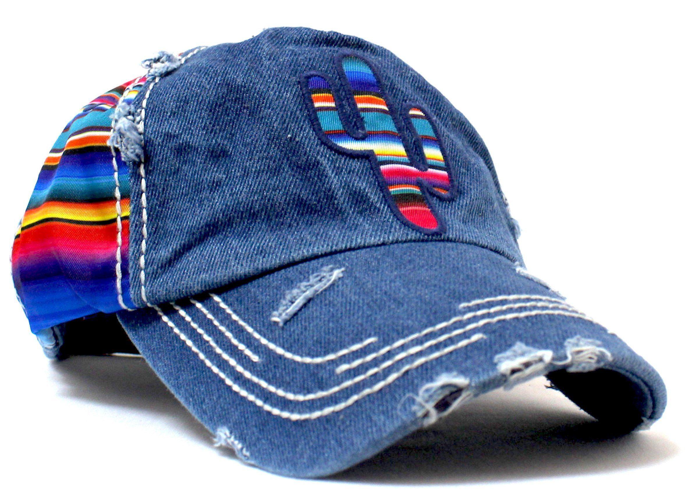 5a2ed316e8 Serape-Colored CACTUS Embroidery on Vintage Style, Distressed Cap ...