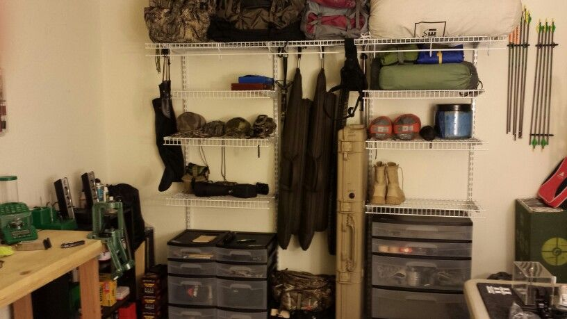Man Cave Garage Hunting : My man cave. all outdoor gear organization for hunting