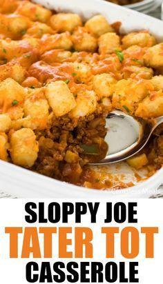 Sloppy Joe Tater Tot Casserole Recipe In 2020 Tater Tot