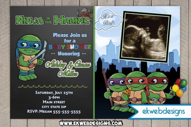 Custom Baby Ninja Turtles Baby Shower Invitation   Baby Shower Invitations    Pinterest   Baby Ninja Turtle, Turtle Baby And Ninja Turtles