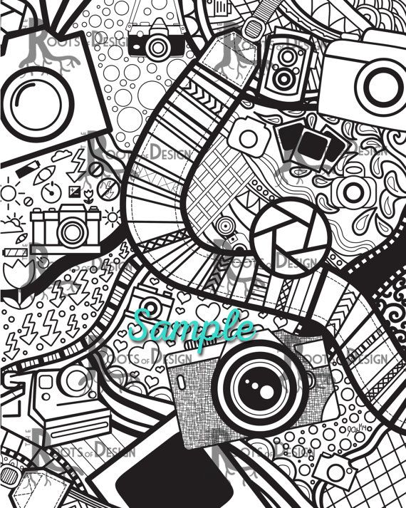 Instant Download Coloring Page Camera Art Print Zentangle Inspired