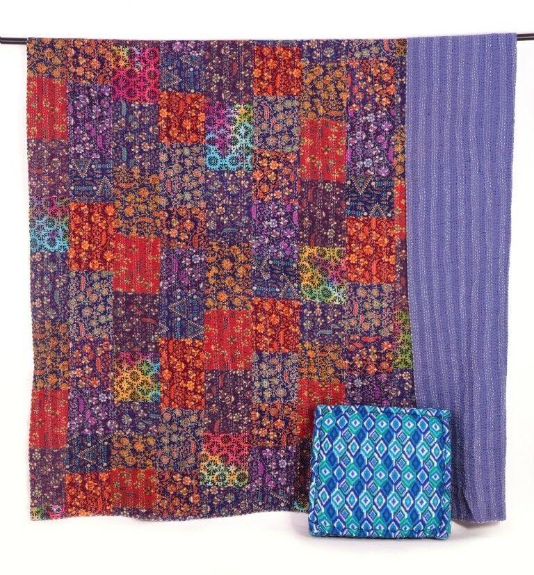 Handmade Vintage Blue Floral Kantha Quilt Throw Cotton Blanket Bedspread Gudari