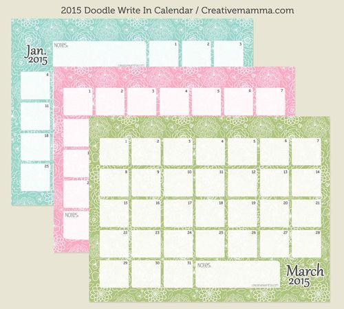 Free Printable 2015 Write In Calendar Creative Mamma Cal Good To