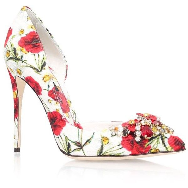 Dolce & Gabbana Embellished Daisy Court (£775) ❤ liked on Polyvore featuring shoes, pumps, heels stilettos, stiletto heel pumps, pointy stilettos, stilettos shoes and sparkly shoes