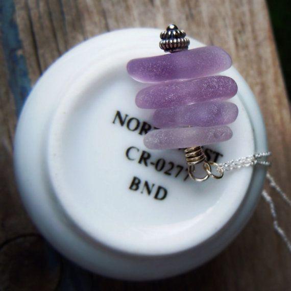 Lavender Ombré Beach Glass Cairn Neclace by LakeIslandGirl