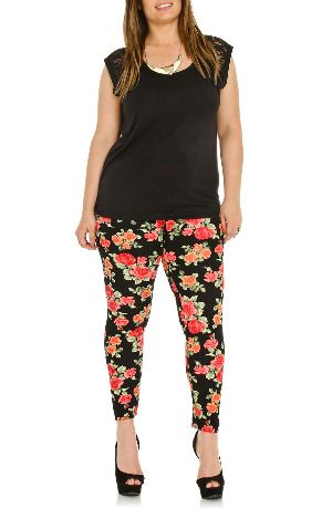 Hey Collection Floral Jacquard Leggings in Multi