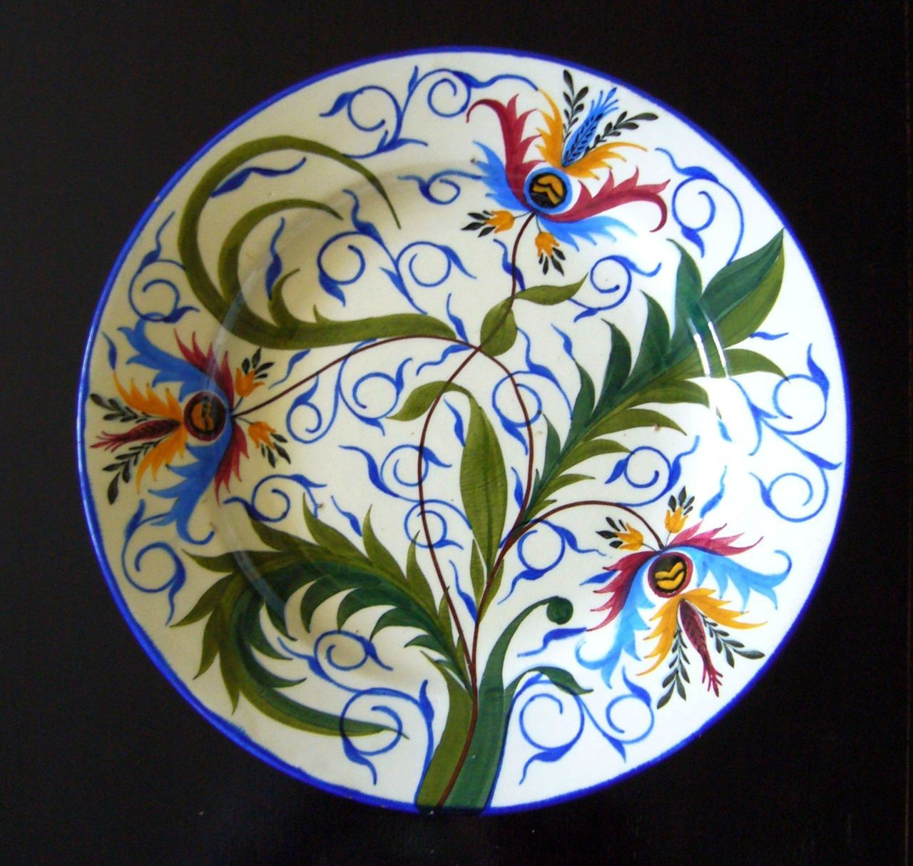 Vintage Hand-Painted Hungarian Porcelain Wall Plate by Hollohaza