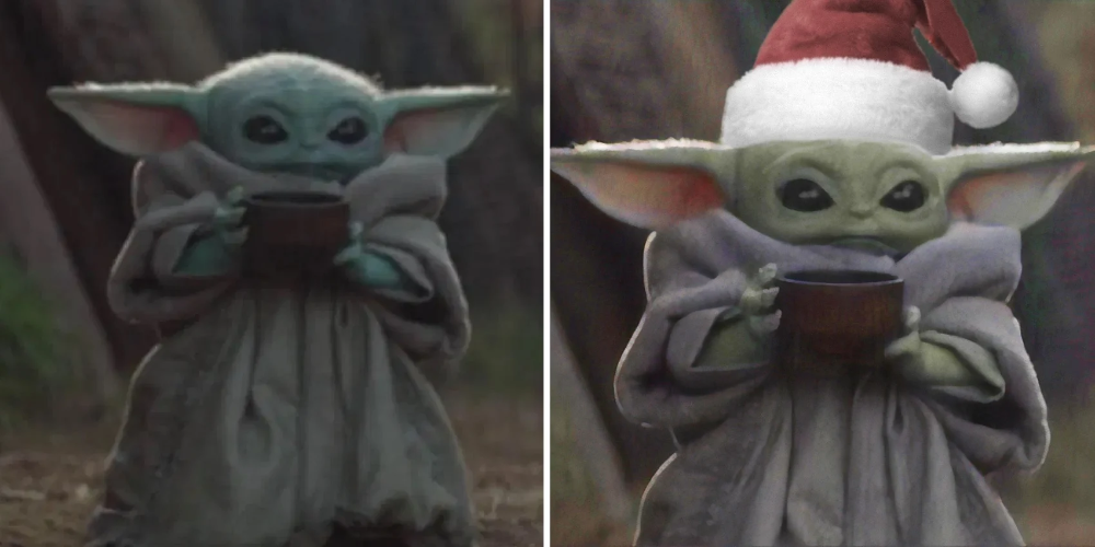 Star Wars The 10 Best Baby Yoda Sipping Tea Memes Screenrant Funny Christmas Baby Baby Memes Christmas Memes Funny
