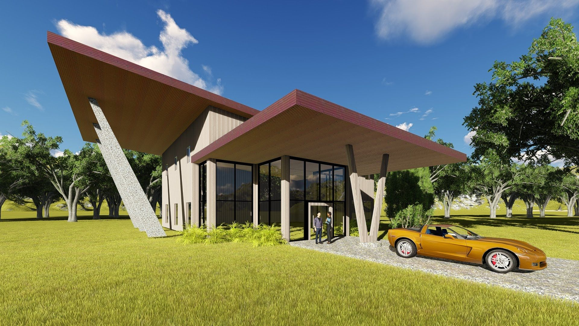 Revit lumion tutorial modern house architecture for Modern house tutorial