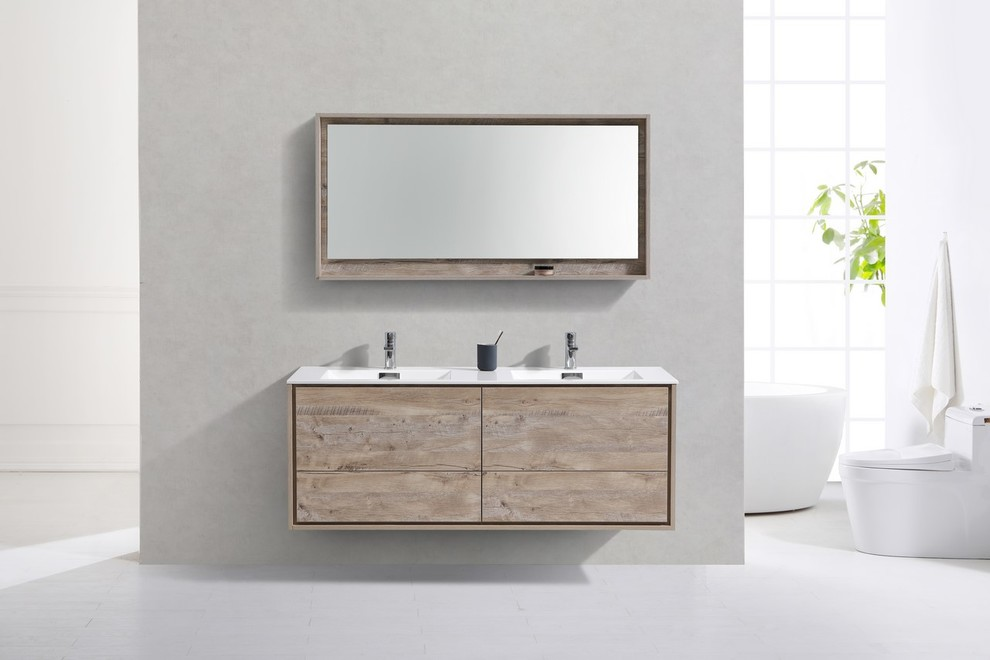 Delusso 60 Double Sink Nature Wood Wall Mount Modern Bathroom Vanity Contemporary Bathroom V In 2020 Modern Bathroom Modern Bathroom Vanity Double Vanity Bathroom