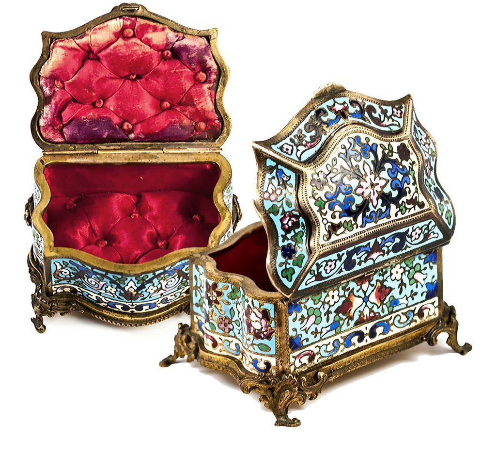 Antique French Jewelry Casket, Box, Champleve Enamel, Silk Lining Intact